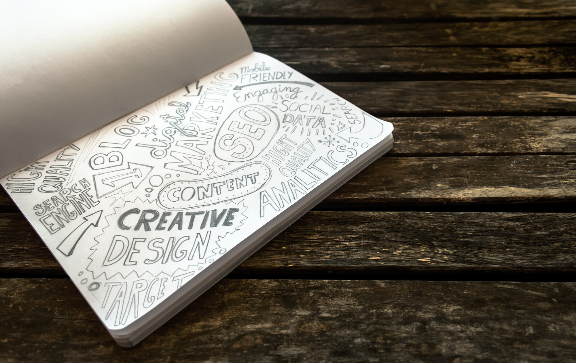 Notebook on a table with texts made ​​pencil. Sample internet concepts , websites, social media, digital marketing and design. The table is made of wood